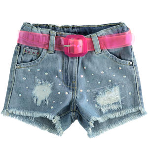 Denim shorts with rhinestones LIGHT BLUE