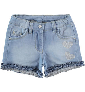 Knitted denim shorts with rhinestone heart BLUE