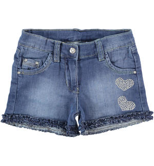 Knitted denim shorts with rhinestone heart