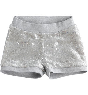 Light fleece shorts with sequins GREY