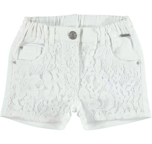 Cotton satin shorts with floral lace for girls WHITE