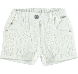 Cotton satin shorts with floral lace for girls CREAM