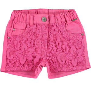 Cotton satin shorts with floral lace for girls PINK