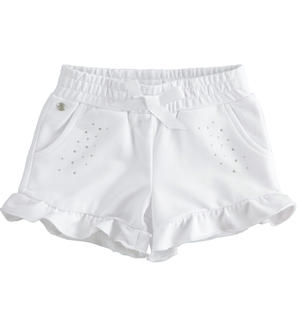 Solid colour shorts with rhinestones WHITE