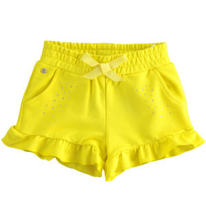 Solid colour shorts with rhinestones YELLOW