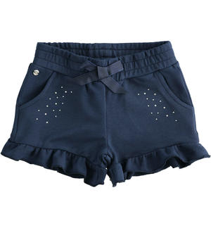 Solid colour shorts with rhinestones BLUE