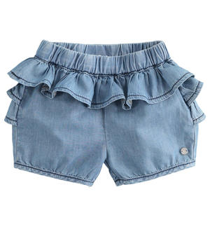 100% cotton denim effect baby girl shorts enriched with ruffles LIGHT BLUE