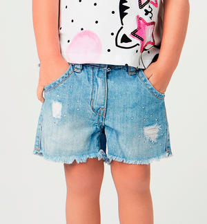 100% cotton denim-effect shorts with pearl BLUE