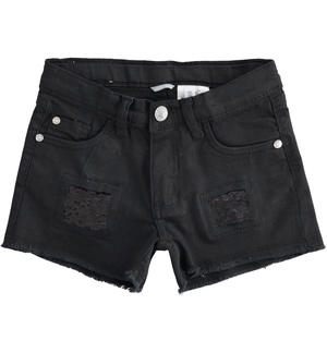 Shorts with broken details finished with sequins BLACK
