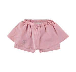 Shorts with overskirt micro-stripe pattern for baby girl RED