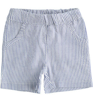 Striped newborn boy shorts with elastic waist BLUE