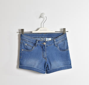 Shorts in denim stretch con rivetti con strass BLU