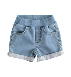 Newborn shorts of stretch cotton denim fleece LIGHT BLUE