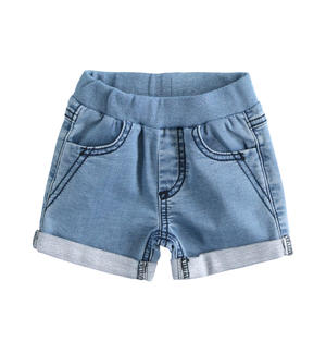 Newborn shorts of stretch cotton denim fleece BLUE