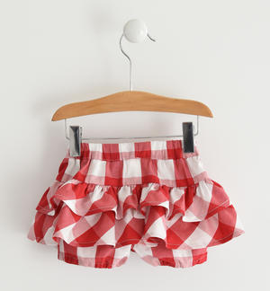 Baby girl shorts of soft 100% Vichy print cotton fabric RED