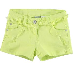 Shorts in twill stretch di cotone con rotture GIALLO
