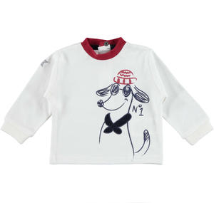 Fun long-sleeved 100% cotton t-shirt with dog CREAM