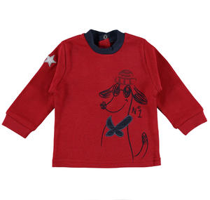 Fun long-sleeved 100% cotton t-shirt with dog RED