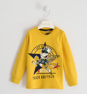 Cute 100% cotton crew neck t-shirt YELLOW