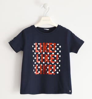 Nice t-shirt with printed lace BLUE