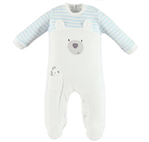 Cute chenille sleepsuit with teddy bear and puppy  CREAM