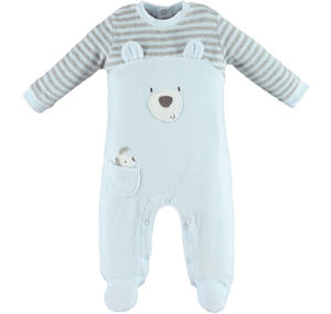 Cute chenille sleepsuit with teddy bear and puppy  LIGHT BLUE
