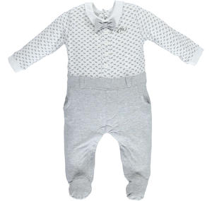 Lovely footed romper with bow tie GREY