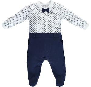 Lovely footed romper with bow tie BLUE