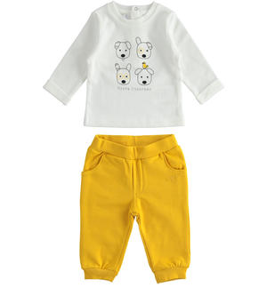 Nice outfit for newborn boy with little dogs YELLOW