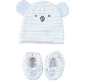 Very soft and comfortable baby boy kit with hat and slippers LIGHT BLUE