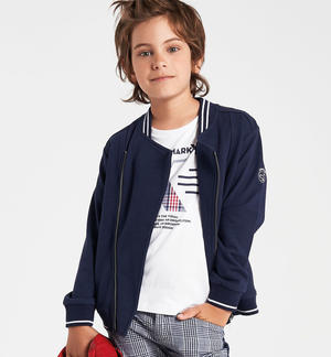 Sporty, stylish and comfortable 100% cotton full zip for boy BLUE