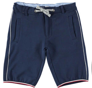 Boy's sporty stretch cotton fleece Bermuda shorts BLUE