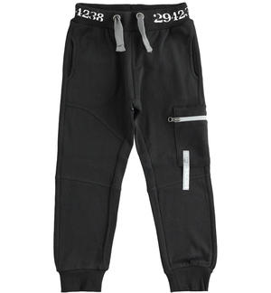 Sporty fleece trousers with side pocket BLACK