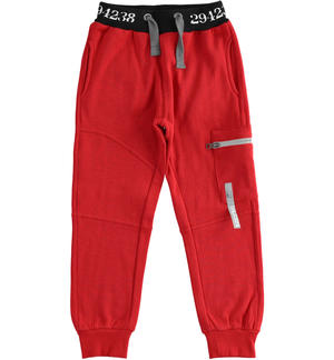 Sporty fleece trousers with side pocket RED