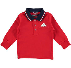 This 100% cotton long sleeved polo shirt is stylish and comfortable RED