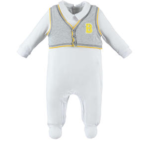 Stylish and comfortable cotton romper baby boy with fake vest and feet GREY