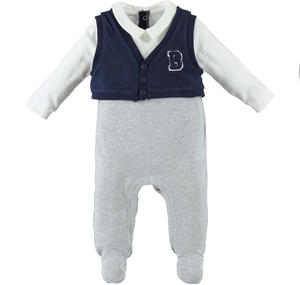 Stylish and comfortable cotton romper baby boy with fake vest and feet BLUE