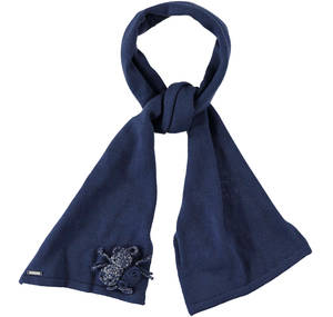 Stylish scarf with lurex roses BLUE