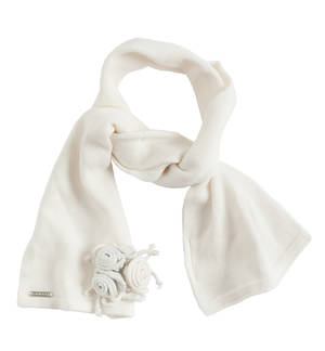 Stylish scarf with lurex roses CREAM