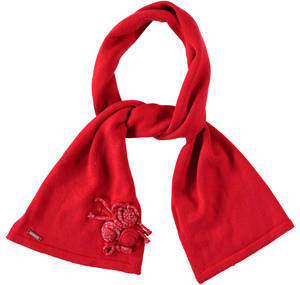 Stylish scarf with lurex roses RED