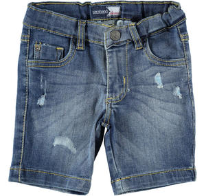 Stretch denim short trousers BLUE