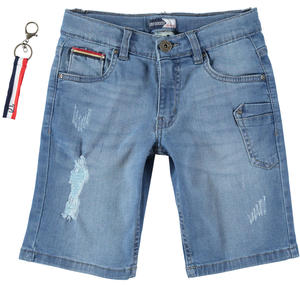 Boy's vintage effect stretch cotton denim Bermuda shorts BLUE
