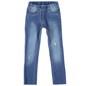 Jeans denim stretch per bambina BLU