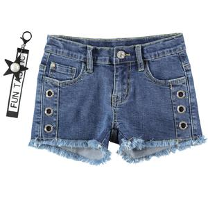 Grintoso denim shorts bambina sfrangiato in cotone stretch BLU