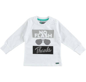 Trendy and fashionable 100% cotton long sleeved t-shirt WHITE