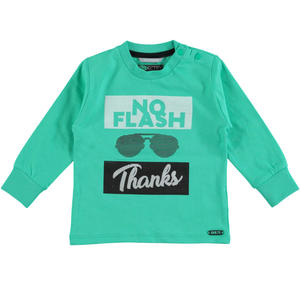 Trendy and fashionable 100% cotton long sleeved t-shirt GREEN