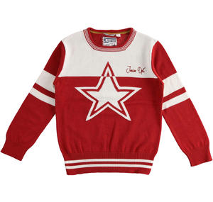 100% cotton tricot with star RED