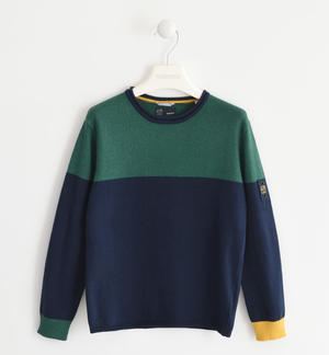Tricot crew neck sweater BLUE