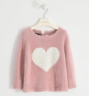 Tricot round neck with heart inlay PINK