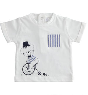 Short-sleeved 100% cotton newborn boy t-shirt with striped details WHITE